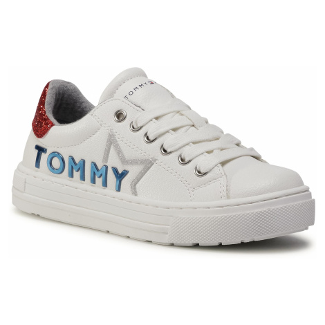 Sneakersy TOMMY HILFIGER - Low Cut Lace Up Sneaker T3A4-30804-1015 M White/Red X010