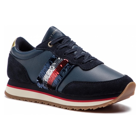 Sneakersy TOMMY HILFIGER - Sequins Retro Runner FW0FW03703 Midnight 403