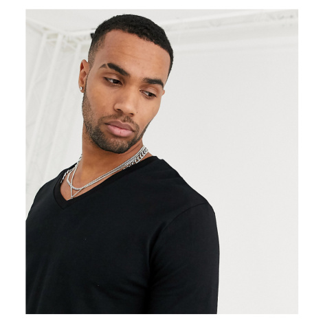 ASOS DESIGN Tall long sleeve t-shirt with v neck in black