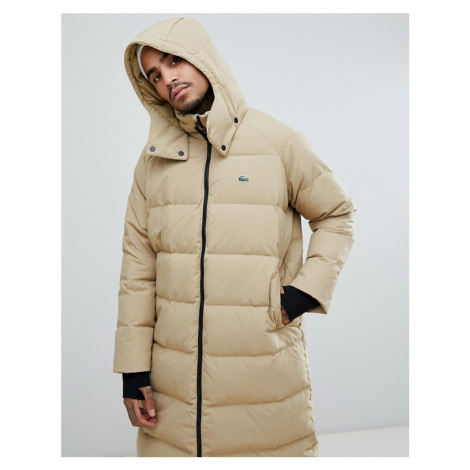 Lacoste L!VE longline puffer coat in sand
