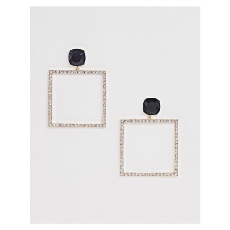 ASOS DESIGN earrings with jewel stud and open crystal drop in gold tone