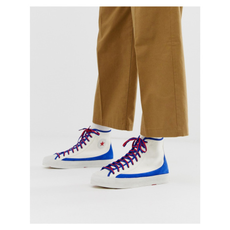 Converse all star sasha hi white blue and red trainers