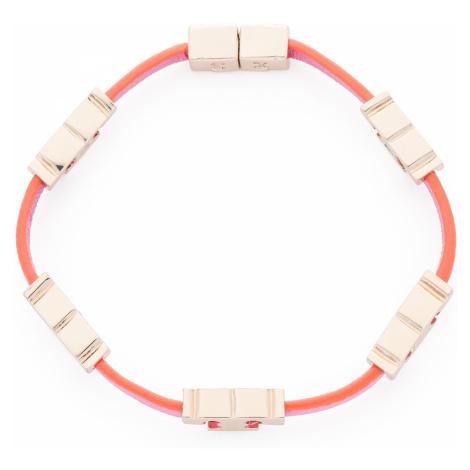 Bransoletka TORY BURCH - Serif-T Single Wrap Bracelet 61675 Tory Gold/Tory Orange/Crazy Pink 701