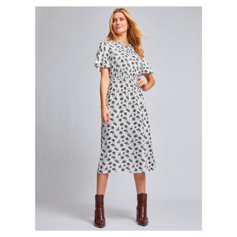 Biała wzorzysta sukienka midi Dorothy Perkins