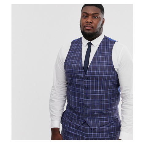 River Island Big & Tall suit waistcoat in blue check