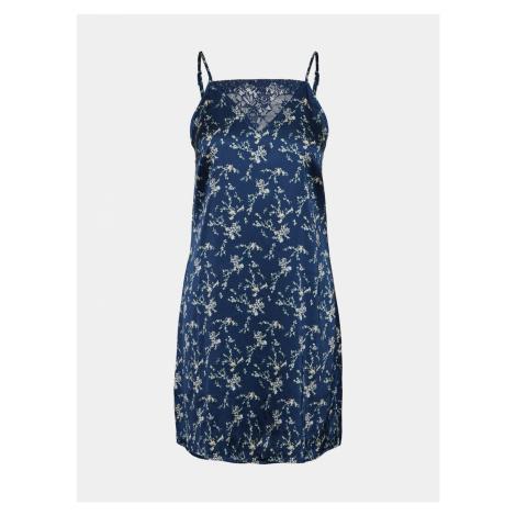 Niebieska satynowa koszula nocna VERO MODA w kwiaty