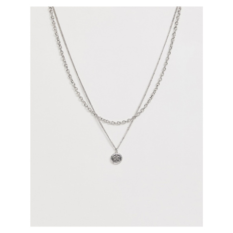 WFTW double layer neck chain with coin pendant in silver