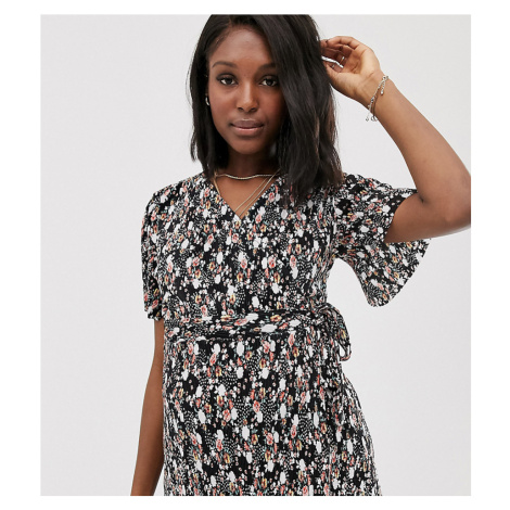 ASOS DESIGN Maternity plisse wrap top with tie side in dark floral print