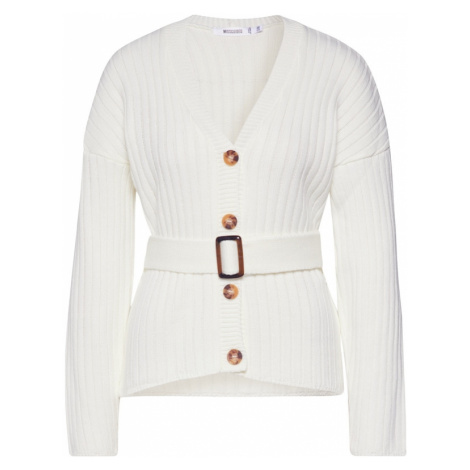 Missguided Kardigan 'Belted Buttoned Cardigan' kremowy