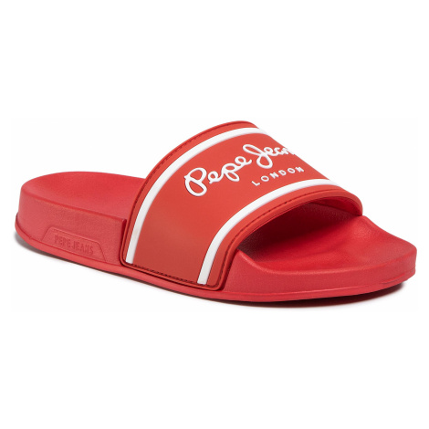 Klapki PEPE JEANS - Slider Logo Boys PBS70034 Red 255