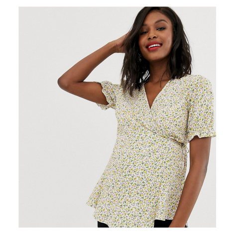 New Look Maternity ditsy floral frill hem top in white
