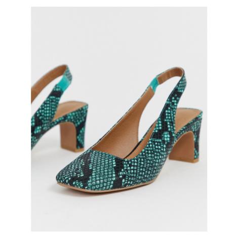 ASOS DESIGN Serpent slingback mid heels in snake print