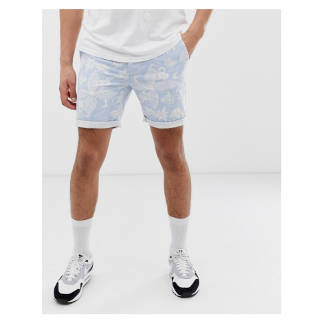Bellfield chino shorts with Hawaiian print in light blue