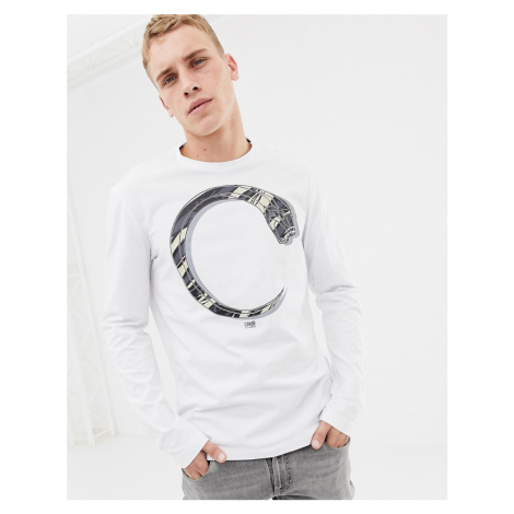 Cavalli Class t-shirt in white with snake print Roberto Cavalli