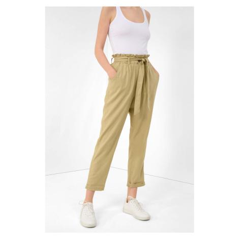Lniane spodnie slouchy high waist Orsay