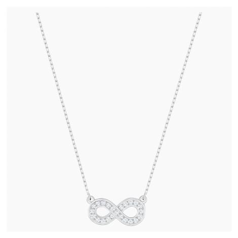 Infinity Necklace, White, Rhodium plated Swarovski