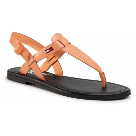 Sandały TOMMY JEANS - Color Block Basic Thong Sandal EN0EN00908 Melon Orange SC1 Tommy Hilfiger