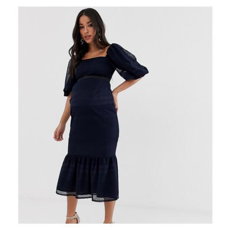 ASOS DESIGN Maternity lace puff sleeve pephem dress