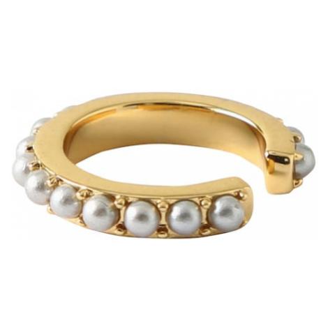 Orelia Kolczyki 'Mini Pearl Single Ear Cuff' złoty / perłowo biały