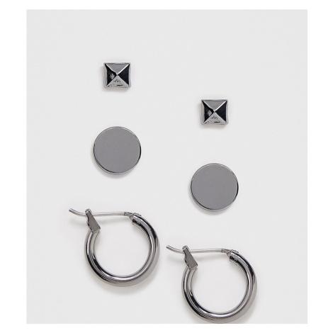 DesignB 3 pack stud and hoop earrings in gunmetal grey DesignB London