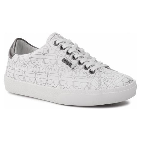 Sneakersy KARL LAGERFELD - KL60121 White Lthr W/Silver