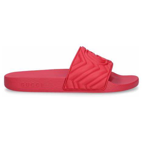 Gucci - Buty Klapki kąpielowe GG guma Logo koralowy