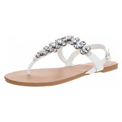 Miss Selfridge Japonki 'ELI White Toe Post Gem Sandals' biały