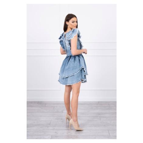 Elastyczna sukienka dżinsowa z podwójną falbanką S/M-L/XL