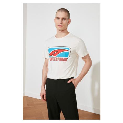 Modyol Ekru Męski t-shirt z regularnym dopasowaniem Trendyol