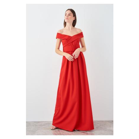 Trendyol Red Belted Carmen Collar Evening Dress