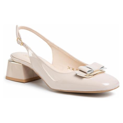 Sandały SAGAN - 4116 Beżowy Lakier