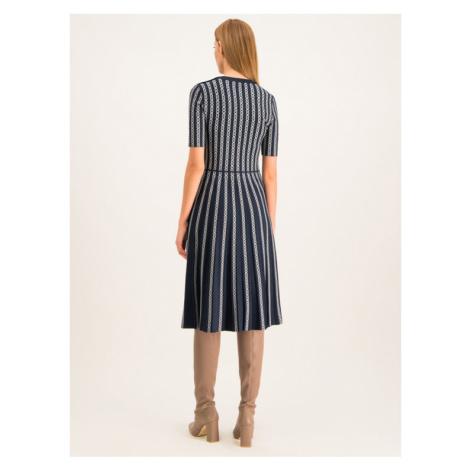 Tory Burch Sukienka dzianinowa Gemini 58488 Granatowy Slim Fit