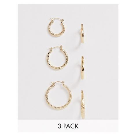 ASOS DESIGN pack of 3 twist hoop earrings in gold tone