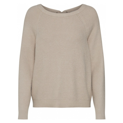 VILA Sweter 'VISIA KNIT LACED UP BACK L/S TOP' beżowy