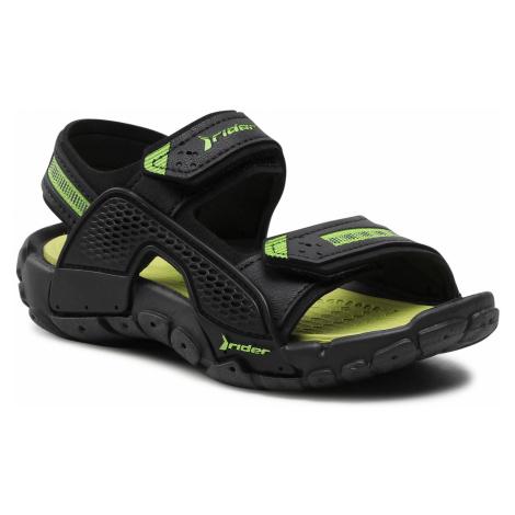 Sandały RIDER - Tender XII Kids 83066 Black/Black/Green 02235