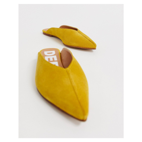 Depp leather pointed mules in mustard