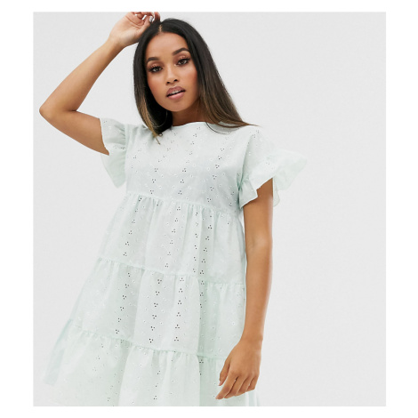 PrettyLittleThing Petite broderie smock dress in mint