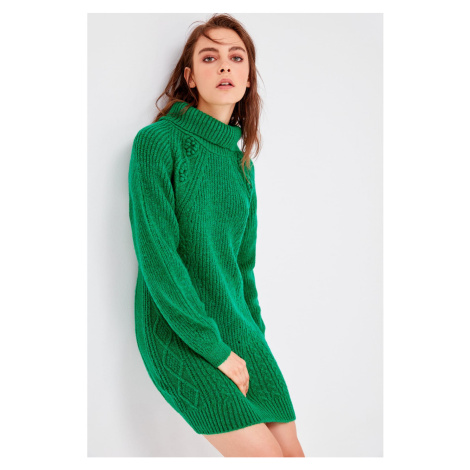 Trendyol Green Turtleneck Knitwear Detailed Knitwear Sweater
