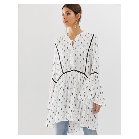 Y.A.S festival monochrome emroidered tunic mini dress