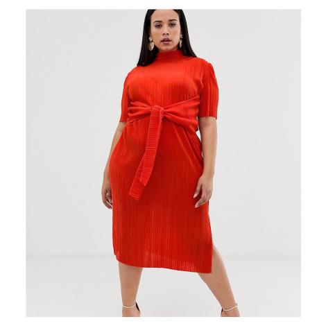 ASOS DESIGN Curve knot front plisse midi dress
