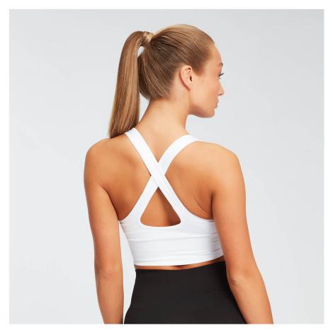 Damski sportowy stanik bezszwowy ze skrzyżowanymi ramiączkami Shape MP – biały