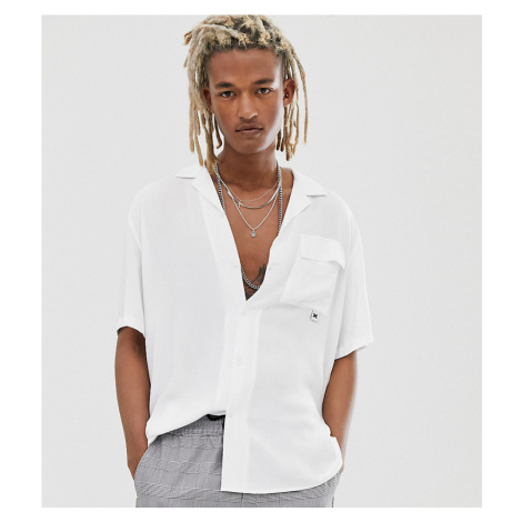 COLLUSION oversized revere shirt in white