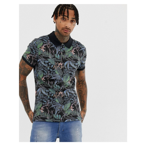 Blend slim fit polo with tropical floral print in black
