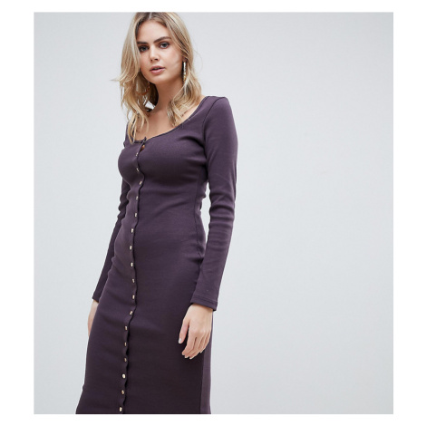 Missguided Tall popper detail ribbed midi dress in aubergine