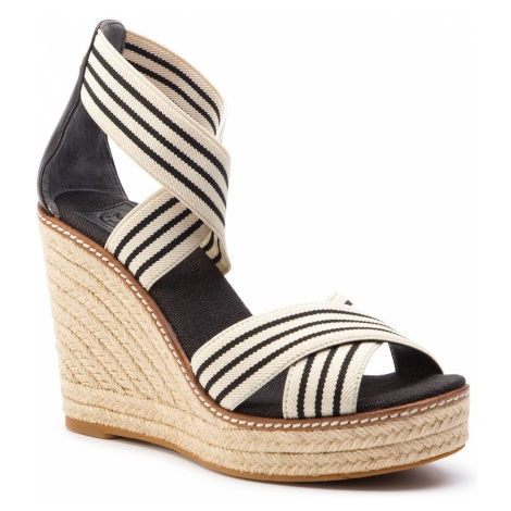 Espadryle TORY BURCH - Frieda 100mm Espadrille 53734 Black And White Stripe/Perfect Black 960
