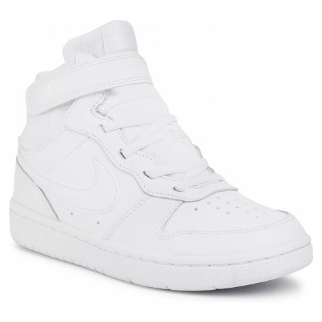 Buty NIKE - Court Borough Mid 2 (PSV) CD7783 100 White/White/White
