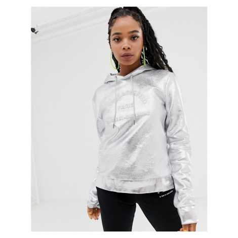 Karl Lagerfeld metallic address logo hoodie