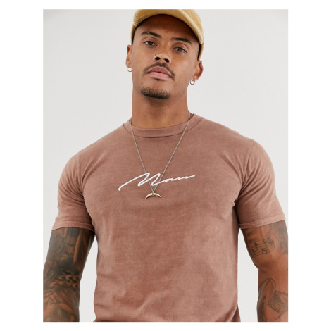 BoohooMAN t-shirt with man embroidery in rust