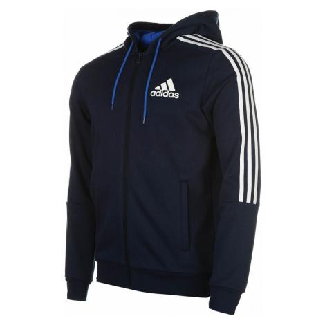Adidas 3 Stripes Logo Zip Hoodie Mens
