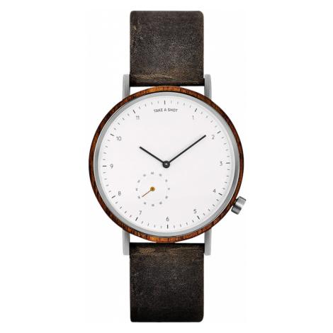 TAKE A SHOT Zegarek analogowy 'George' brązowy / biały